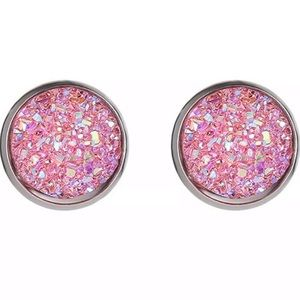 Pretty Pink Druzy Stud Earrings